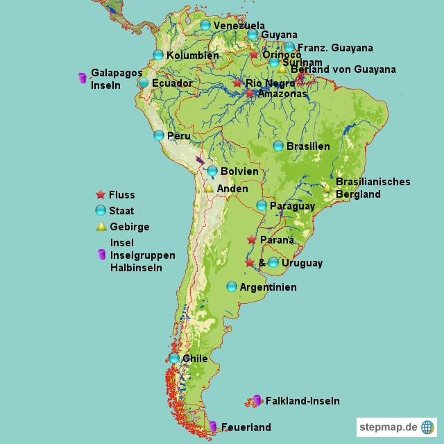 Lateinamerika Karte Gebirge.Südamerika Von Crazyyy Landkarte Für Südamerika