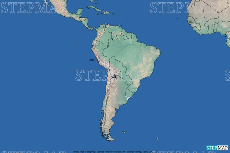 Landkarte: Südamerika