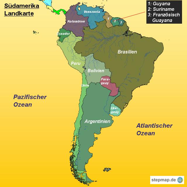 Südamerika Landkarte von Landkarten - Landkarte für Südamerika