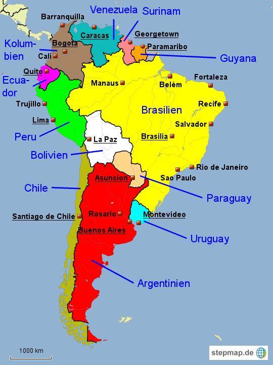 Südamerika | b fimage SUEDAMERIKA KARTE