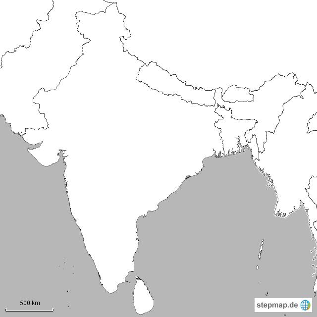 Südasien Karte.Stepmap Suedasien Landkarte Für Indien