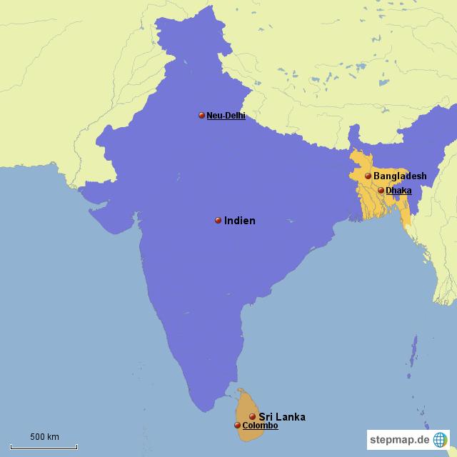 Südasien Karte.Stepmap Südasien Landkarte Für Welt