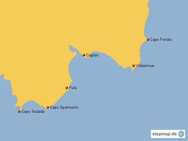 Karte Sardinien Süden.Süden Sardinien Von Thoba Landkarte Für Deutschland