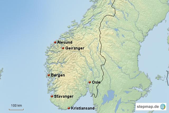 Karte Südnorwegen.Norwegen Landkarte