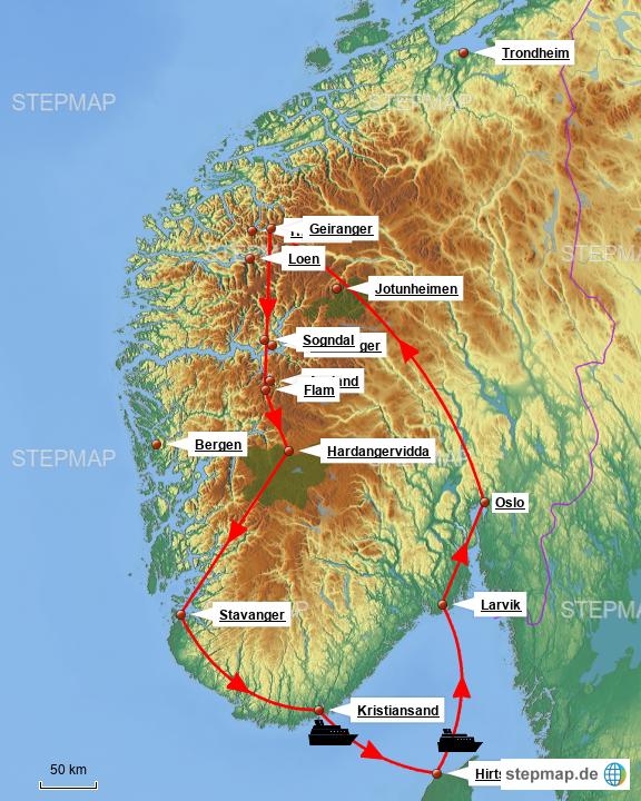 Karte Südnorwegen.Südnorwegen Rundtour Von Dielai Landkarte Für Norwegen
