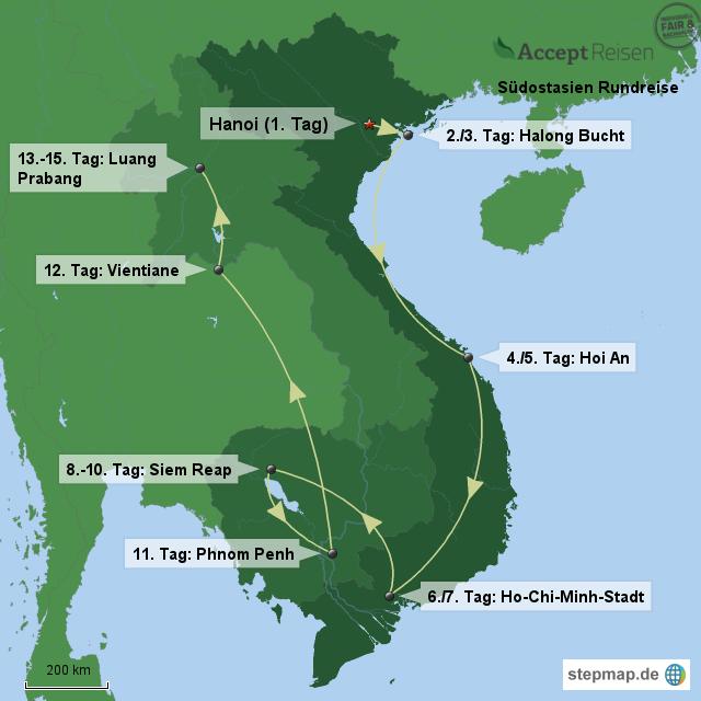 Südostasien Rundreise von Accept Reisen - Landkarte für Asien
