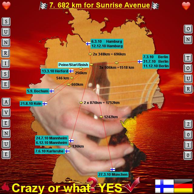 Sunrise Avenue Acoustic Tour 2010 von SamusPatient - Landkarte für Deutschland