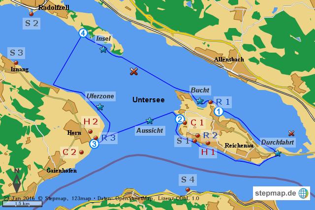 Sup spot bodensee reichenau von dkv landkarte f r die welt for Bodensee karte