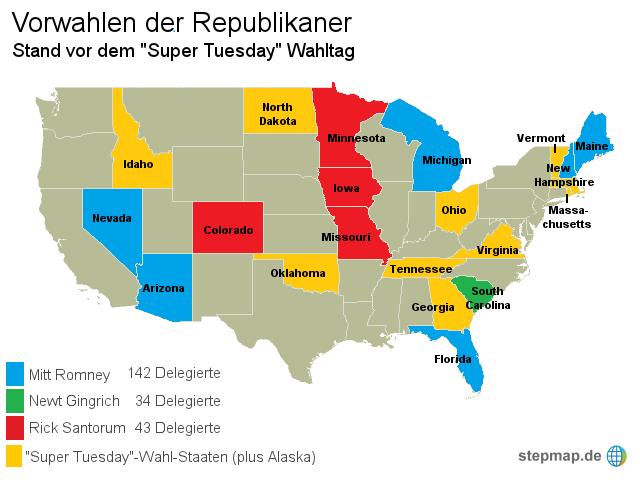 Super Tuesday - Wahlen in den USA von derstandard - Landkarte für ...