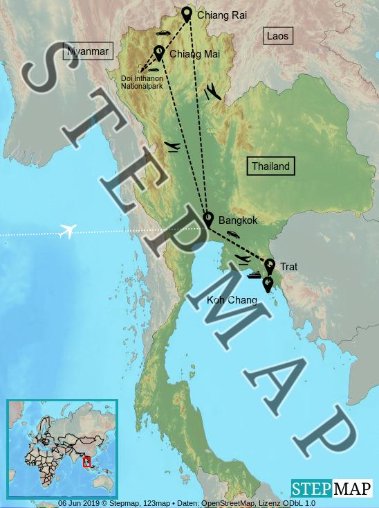 Landkarte: Thailand 2019
