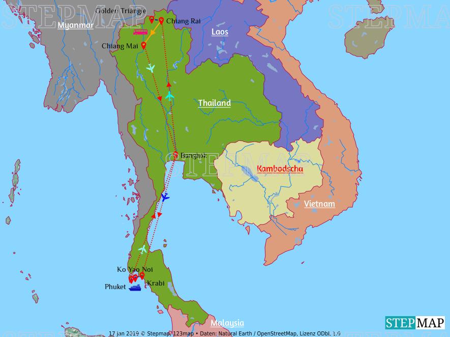 Landkarte: Thailand