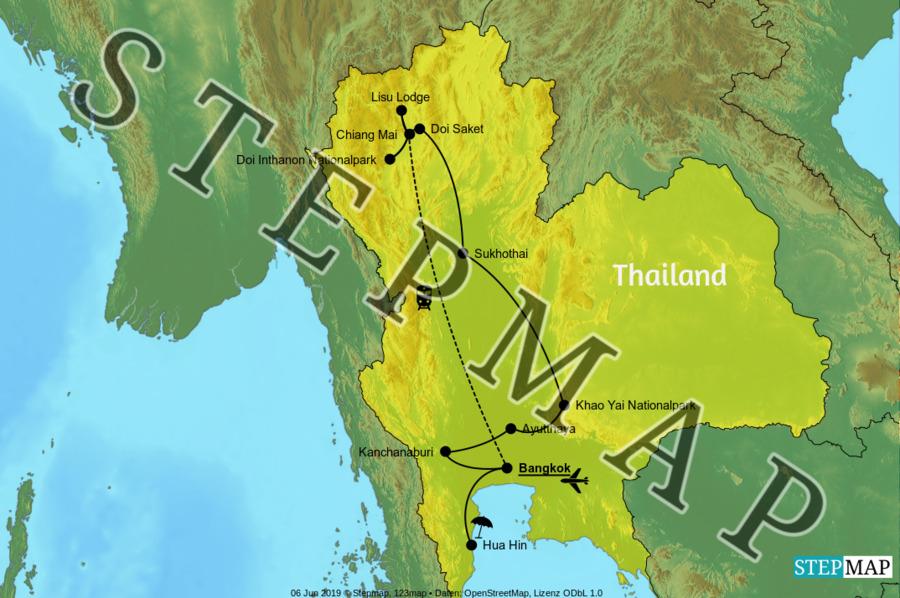Landkarte: Thailandreise Oktober 2019