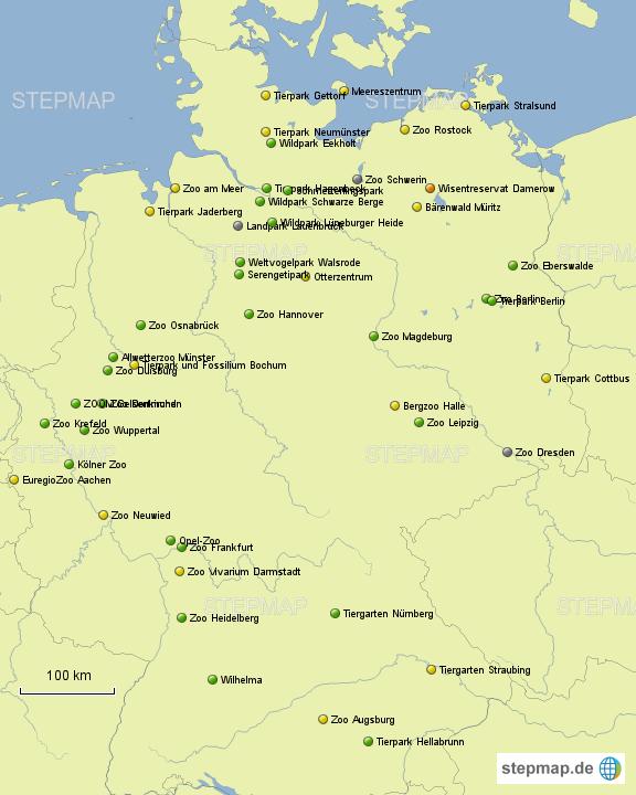 tierpark deutschland karte Tierparkbesuche von Zoo83   Landkarte für Deutschland