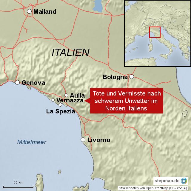 unwetter italien karte Tote und Vermisste im Norden Italiens von redaktioneuractiv