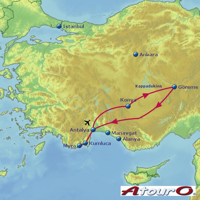 Karte Türkei Kappadokien.Türkei Kappadokien Gruppenreise 2015 Von Atouro Landkarte Für Die