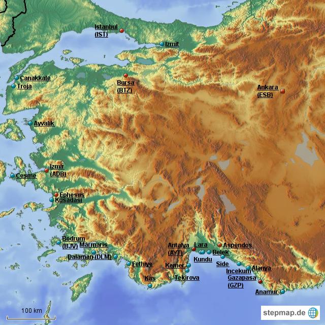 Türkische ägäis Karte.Stepmap Türkische ägäis Riviera Landkarte Für Türkei
