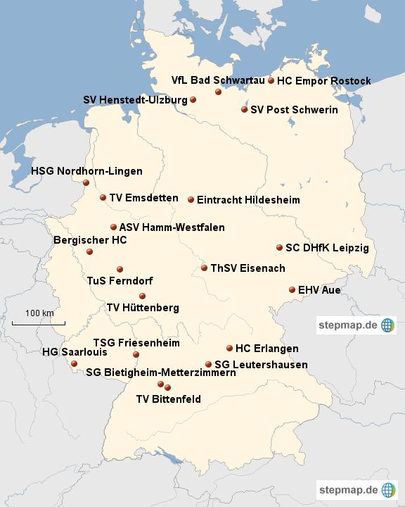 Stepmap übersicht 2 Handball Bundesliga Landkarte Für Deutschland