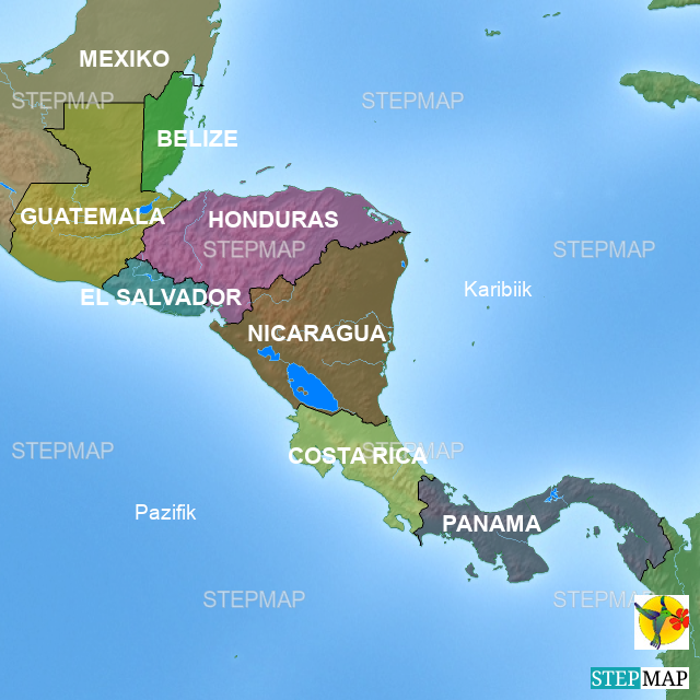 Mittelamerika Karte Staaten.Stepmap übersicht Karte Mittelamerika Verlinkung Auf Infos