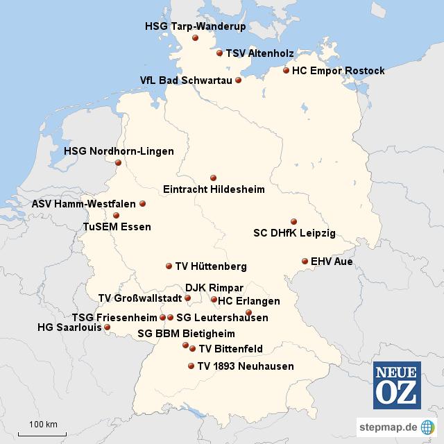 Stepmap übersicht Vereine Handball 2 Bundesliga Landkarte Für
