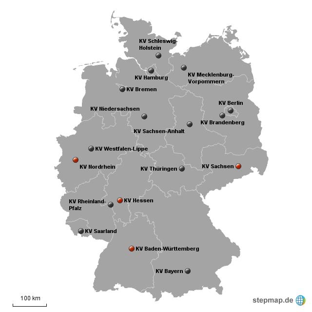 kz standorte in deutschland karte StepMap   Übersicht der KVen in Deutschland   Landkarte für