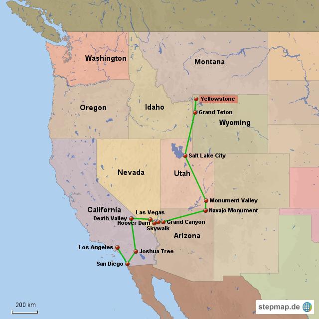 Yellowstone Karte.übersicht Westküste Yellowstone Von Valentin