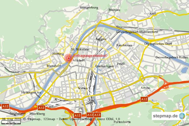 innsbruck karte StepMap   Übersichtskarte Innsbruck   Landkarte für Welt