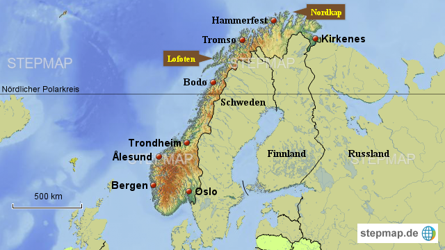 Karte Norwegen Mit Polarkreis.Stepmap übersichtskarte Norwegen Landkarte Für Norwegen