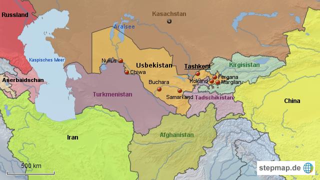 Usbekistan Karte.Stepmap übersichtskarte Usbekistan Landkarte Für Deutschland
