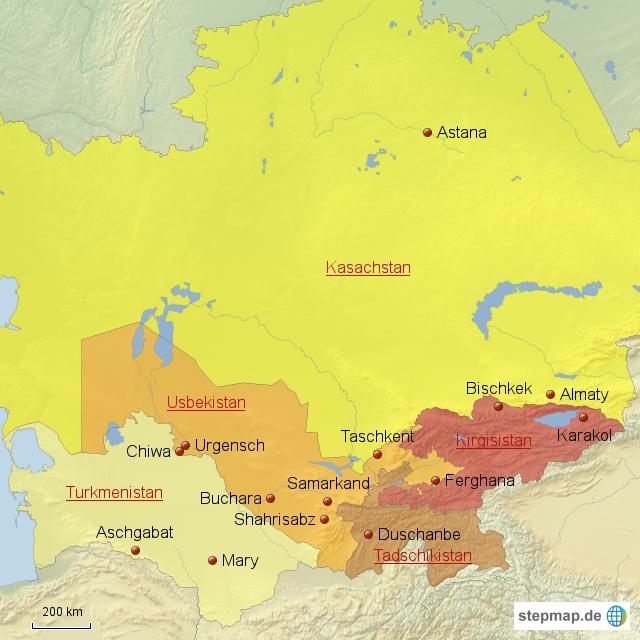 Usbekistan Karte.Stepmap übersichtskarte Usbekistan Turkmenistan Kirgisistan