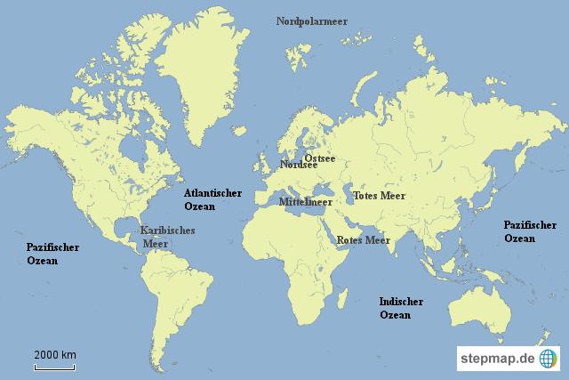 weltmeere karte StepMap   Übersichtskarte Weltmeere   Landkarte für Welt