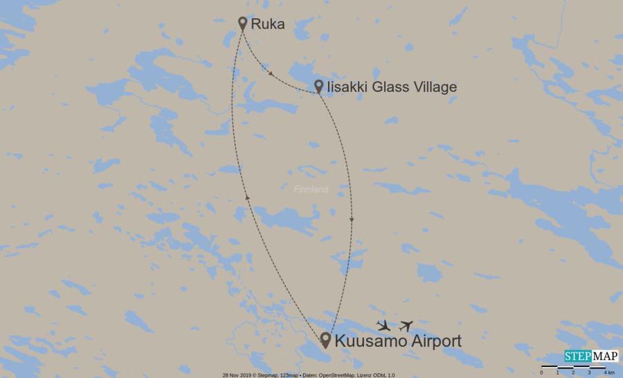 Landkarte:  Ultimate supercar ice-driving in Ruka