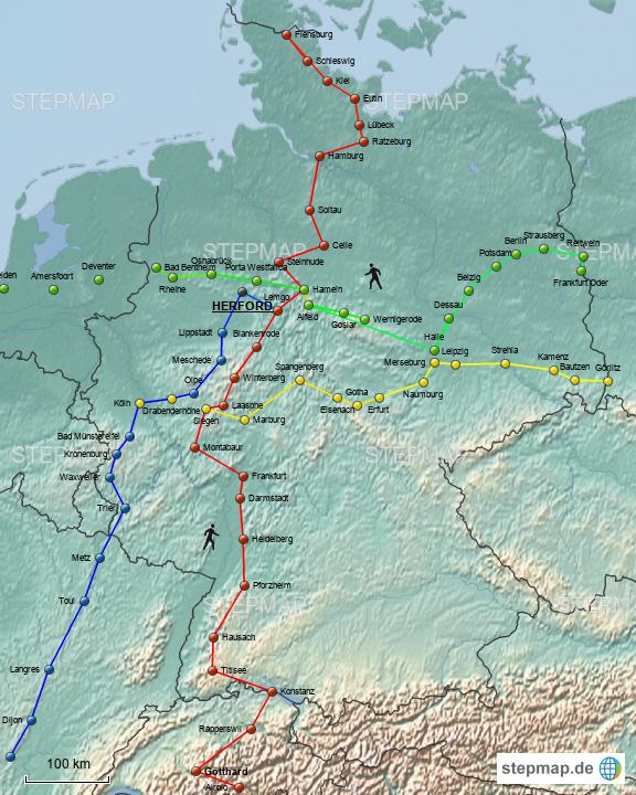 Wanderwege Deutschland Karte.Stepmap Unsere Pilger Wanderwege In Deutschland Seit 2001