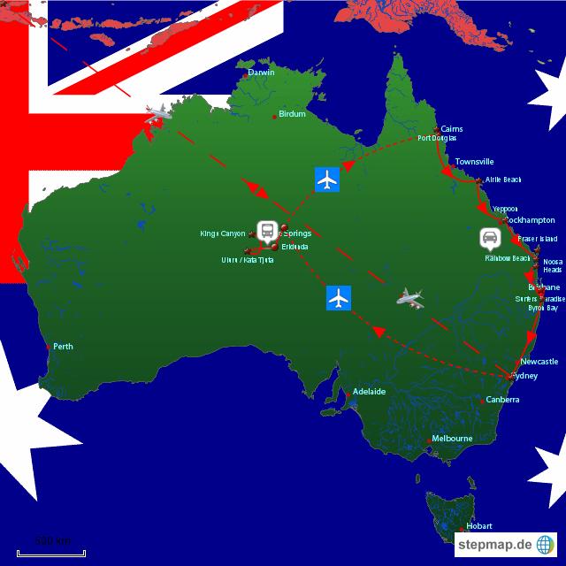 unsere hochzeitsreise von schreysi landkarte f r australien. Black Bedroom Furniture Sets. Home Design Ideas