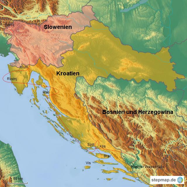 Urlaub Kroatien 2016 von Tobi-ooo - Landkarte für Kroatien