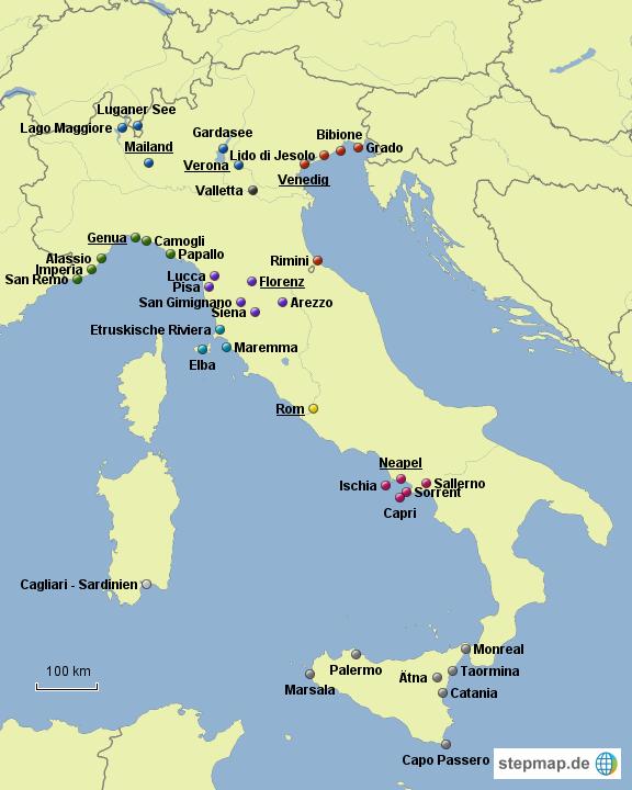 italien karte urlaubsorte Urlaubsorte Italien von IngaYvette   Landkarte für Italien