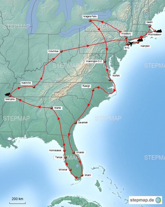 usa ostküste karte USA Ostküste von Pacalis   Landkarte für die USA
