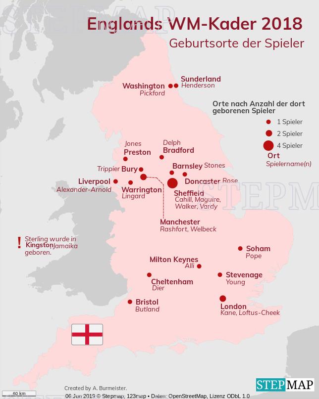 Landkarte: V2_2 Geburtsorte Englandkader WM 2018