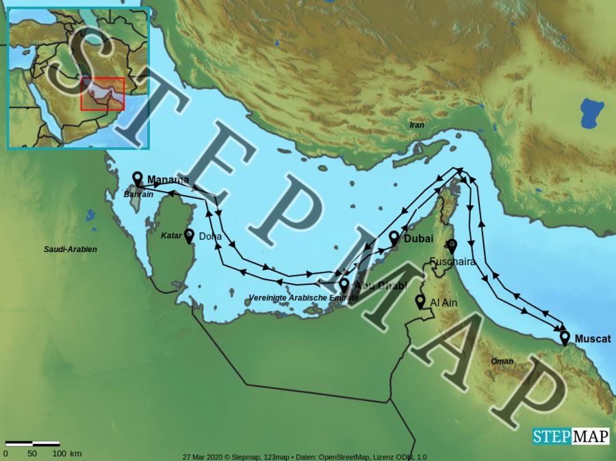 Landkarte: Vereinigte Arabische Emirate und Oman