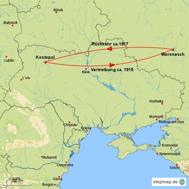 Verschleppung an die Wolga von hbettich - Landkarte für