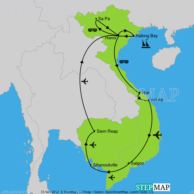 Landkarte: Vietnam_Kambodschaf
