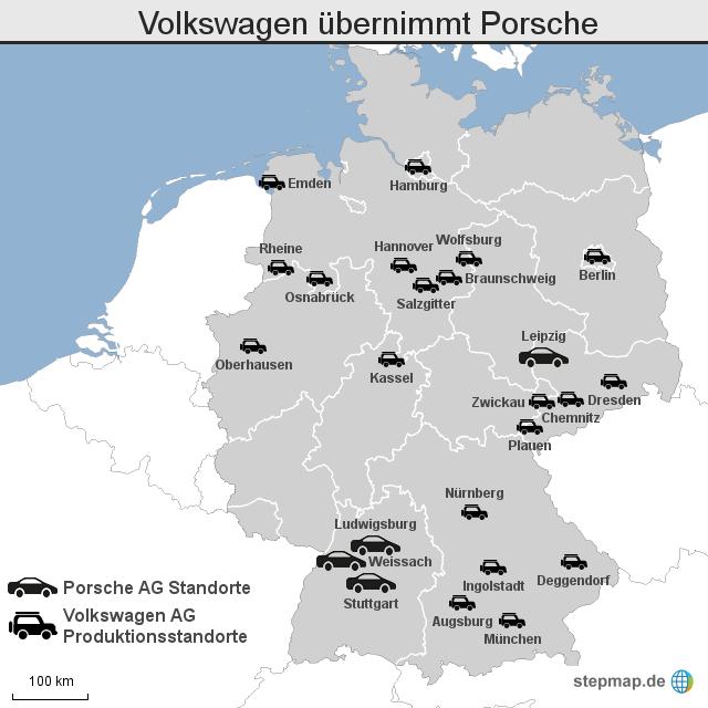 Volkswagen übernimmt Porsche von wznewsline - Landkarte für Deutschland