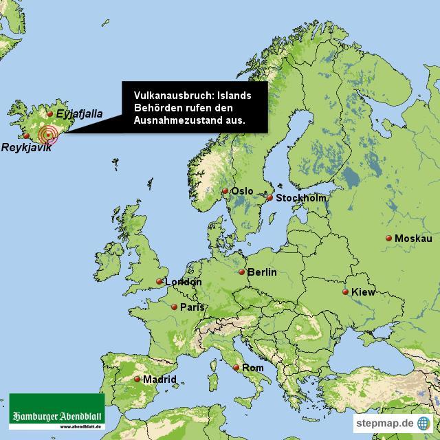 vulkanausbruch auf island abendblatt landkarte f 252 r