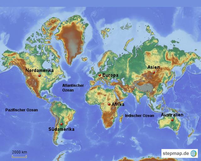 Welt(mit Kontinenten und Ozeanen) von rosemarie   Landkarte für