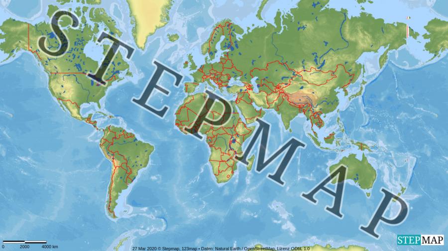 Landkarte: Welt stumm