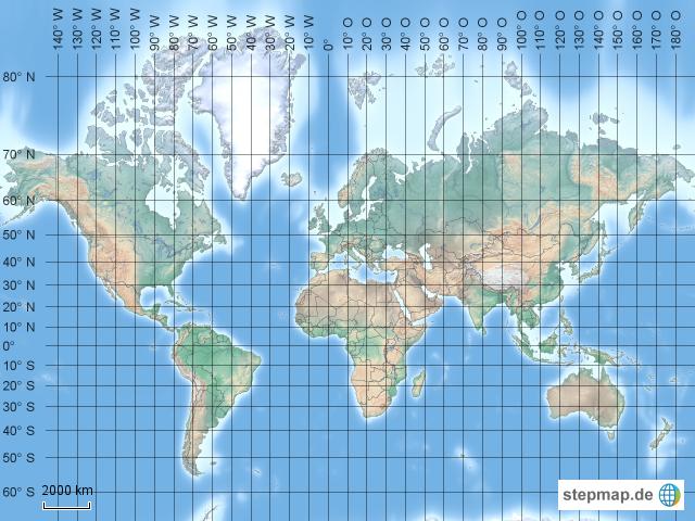 Weltkarte Breiten  und Längengrade von henningpantaenius