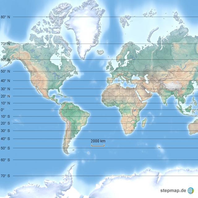 Weltkarte Breitengrade