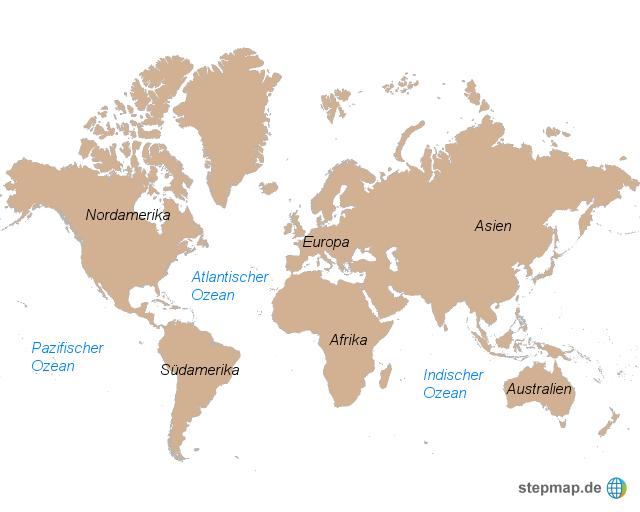 Weltkarte   Kontinente und Ozeane von Marife   Landkarte für die Welt