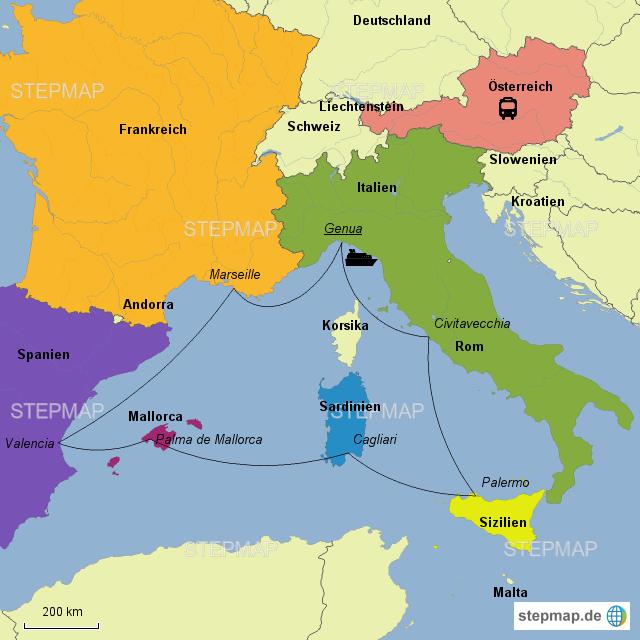 Westliches Mittelmeer Msc Von Karincecil Landkarte Fur Das