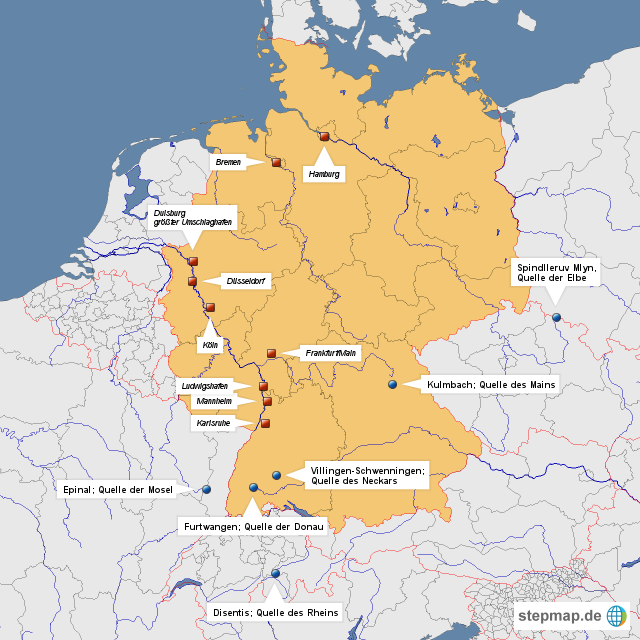 Wichtige deutsche flüsse und ihr ursprung