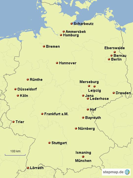wichtige st dte von birte93 landkarte f r deutschland. Black Bedroom Furniture Sets. Home Design Ideas